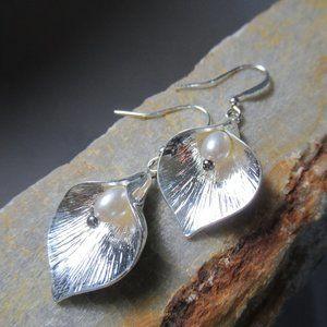 Silvery Calla Lily Earrings Classic Pierced Dangle
